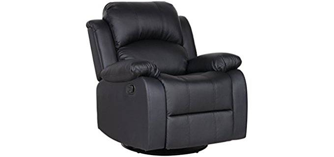 Divano Roma Furniture Bonded Leather Rocker - Plush Traditional Lever Rocker Recliner Chair