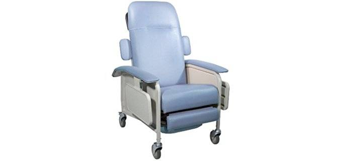 Drive Medical Geriatric Recliner Wheel Chair - Mobile Recliner for Seniors and Elderly Patients