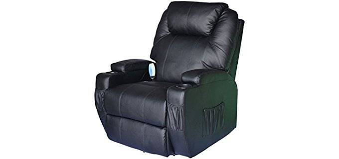HOMCOM PU Swivel Massager - Heated Leather Rocker Massage Recliner