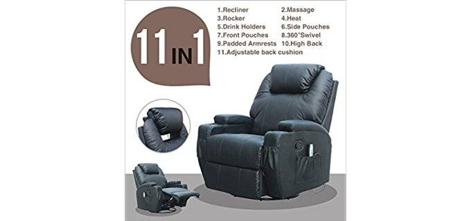 GMS Luxury Swivel Rocker Recliner - Plush Bonded Leather Recliner for Seniors  sc 1 st  ReclinerTime.com : recliner chairs for seniors - islam-shia.org