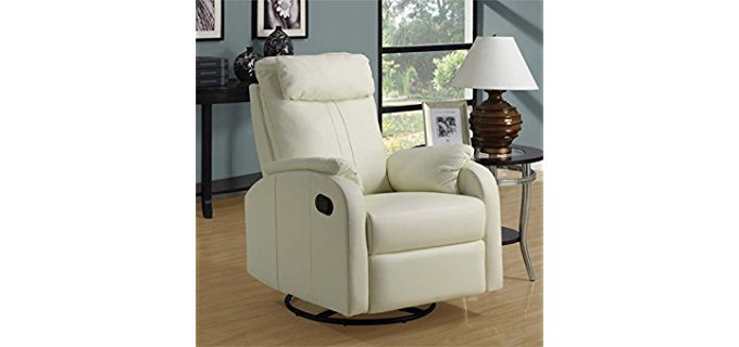 Monarch Specialties Swivel Rocker Recliner - Bonded Leather Stylish Senior Recliner