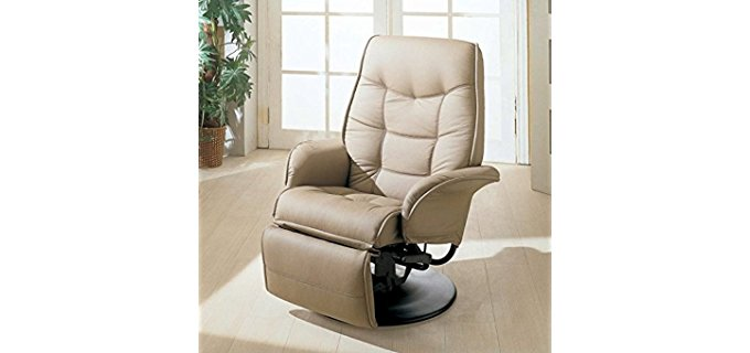 Coaster Home Furnishings Swivel Recliner Chair Back Supportive Orthopedic