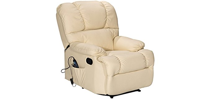 Giantex Heated Recliner Chair - Heated Plush Recliner Armchair for Back Pain