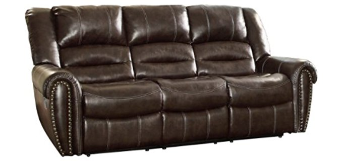 Homelegance Bonded Leather Sofa - Manual 3 Seater Bonded Leather Recliner Sofa