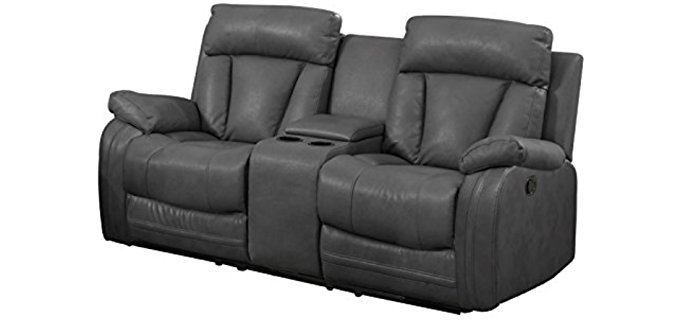 NHI Express Grey Recliner Loveseat - Plush Couch Potato Recliner Sofa for Two