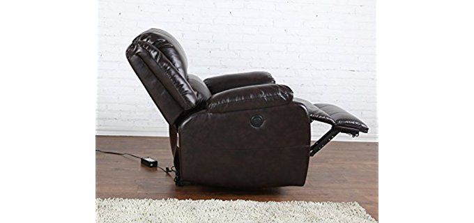 Divano Roma Furniture Power Reclining Sofa - Standard Bonded Leather Recliner Armchair