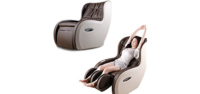 Wellexo 2-in-1 Massage Recliner Armchair - Modern Slim Leather Recliner Chair for Sore Backs