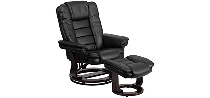 Flash Furniture Long Back Mahogany Recliner Chair - Long Leather Recliner for Tall People