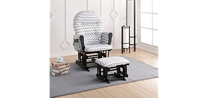 Naomi Home Trendy Recliner for Nursery - Stylish Nursery Recliner Glider with Ottoman
