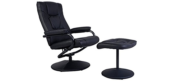 Giantex Swivel Leather Recliner Chair - Perfect Swivel Recliner Office Chair with Ottoman