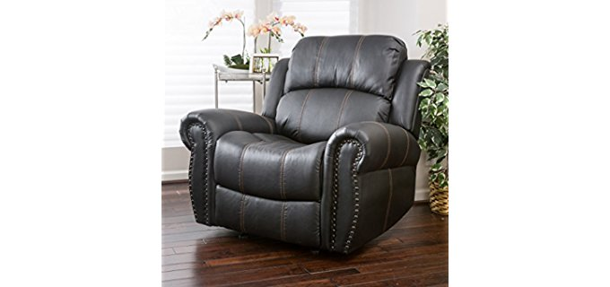 Great Deal Furniture Harbor Black Leather Glider - Oversized Stylish Leather Recliner Glider