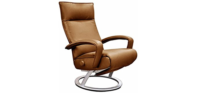 Lafer Full Grain Leather Recliner Chair - Modern Minimalistic Bedroom Recliner Chair