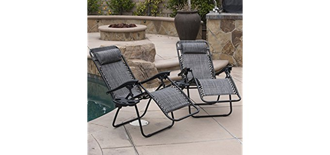 Belleze Heavy Duty Camper Recliner Chairs - Zero Gravity Outdoor Bungee Recliner Chairs