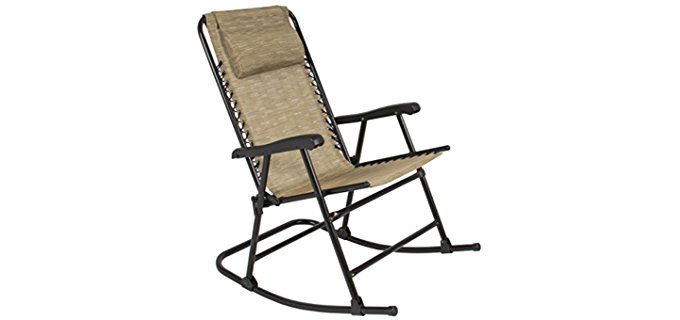 Best Choice Products Foldable Bungee Rocker Recliner - Heavy Duty Weather Resistant Rocker Chair