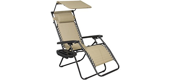 Best Choice Products Outdoor Heavy Duty Recliner - Heavy Duty Bungee Recliner Chair With Shade