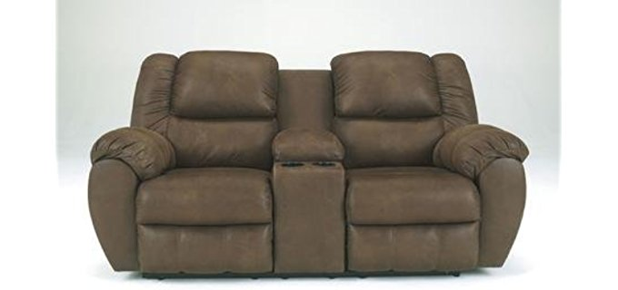 Benchcraft Double Recliner Loveseat - Thick Stuffed Loveseat Two Person Recliner