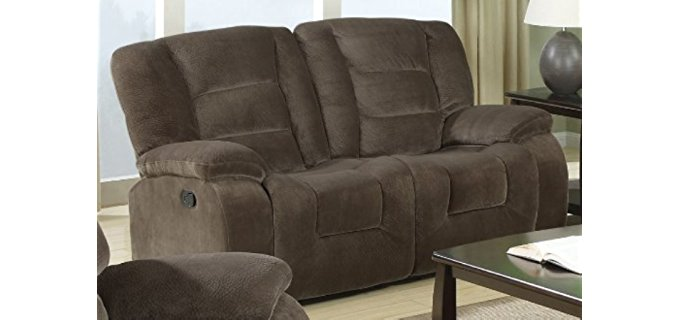Coaster Home Furnishings Chaise Recliner Loveseat - Comfortable Minimalist Recliner for Two