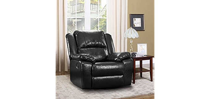 Divano Roma Furniture Oversized Recliner Chair - Overstuffed Large Leather Rocker Recliner Chair