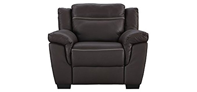 Natuzzi Small Leather Recliner Sofa - Small Italian Amalfi Leather Power Recliner
