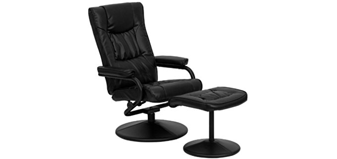 Flash Furniture Leather Recliner and Ottoman - Small Flexible Leather Recliner with Ottoman
