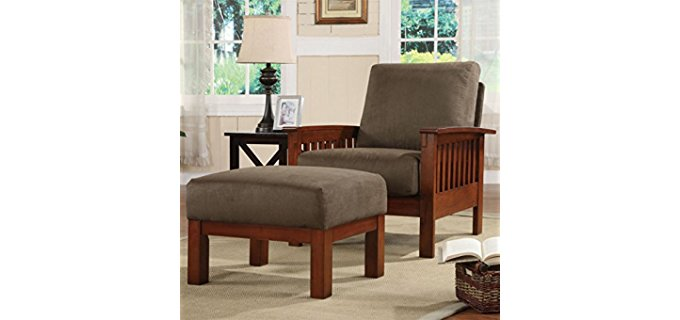 Home Creek Mission Recliner & Ottoman - Microfiber Cover Mission Styled Chair
