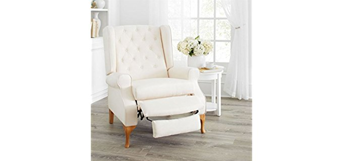 Brylane Home Queen Anne - White Vintage Style Recliner