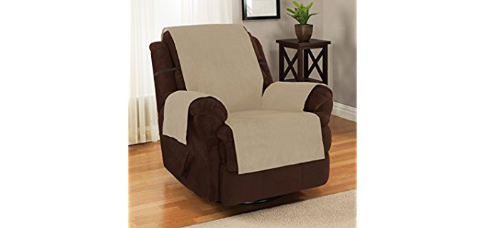 Furniture Fresh Anti-Slip Recliner Cover - Strap-On Anti-Slip Leather Recliner Cover