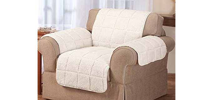 Miles Kimball Sherpa Recliner Cover - Fuzzy Sherpa Leather Recliner Protector