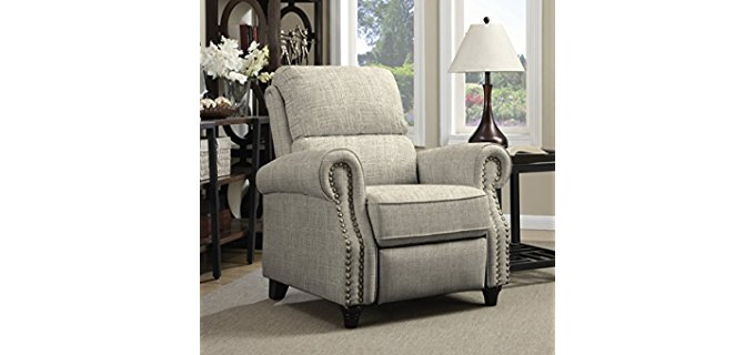 Angelo Home Pro Lounger Recliner - Soft Support Push Back Fabric Recliner