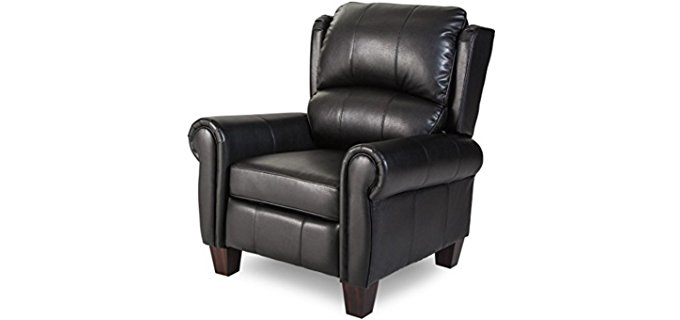 Charleston Wingback Recliner - Over Stuffed Leather Push Back Recliner Chair