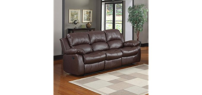 Divano Roma Furniture 3 Seater Recliner Sofa - Plush Bonded Leather Recliner Sofa