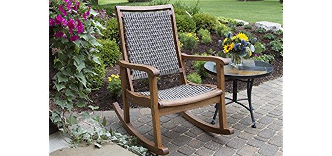 Outdoor Interiors Resin Rocker Chair - Resin Wicker Hardwood Outdoor Rocking Chair