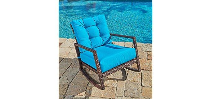 Suncrown Patio Rocking Chair - Modern Wicker Outdoor Patio Rocking Chair