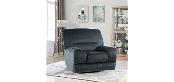 Divano Roma Furniture Gaming Recliner Sofa - Oversized Plush Gaming Recliner Armchair