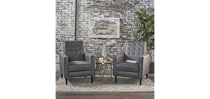 GDF Studio Club Chair Recliner Set - Two Tuft-Back Petite Club Chair Recliners