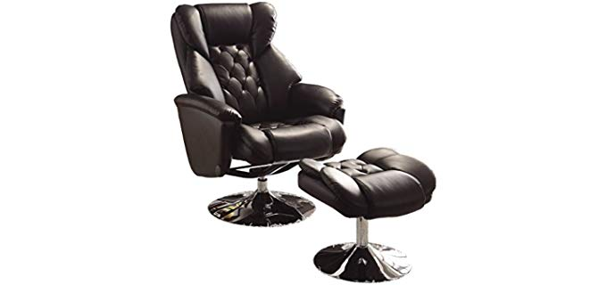 Homelegance 8548BLK - Swivel Reclining Chair with Ottoman
