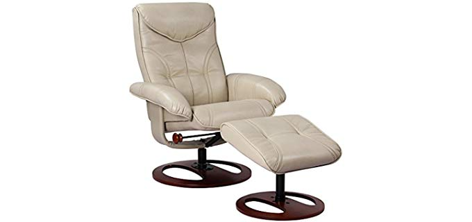 BenchMaster Newport Taupe - Swivel Recliner and Slanted Ottoman
