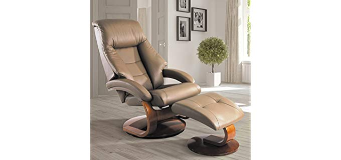 Mac Motion Mandal Sand - Leather Recliner and Ottoman