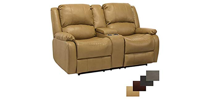RecPro Charles Collection - Tan Colored Double Recliner