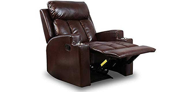 BONZY Contemporary - Two Cup Holder Recliner