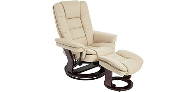 JC Home Argus Bonded Leather - Swiveling Recliner Mahogany Wood Base & Matching Ottoman