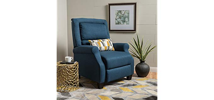 Monica Dark Blue - Mid-Century Modern Fabric Recliner