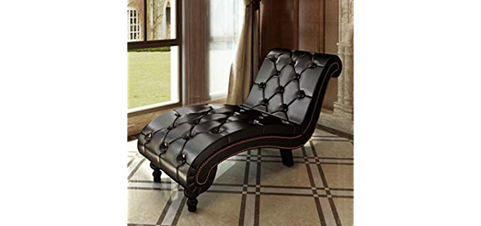 BLXCOMUS Indoor - Leather Reclining Chaise Lounge Sofa