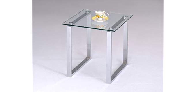 Kings Brand Chrome Finish - Modern End Table for Recliners