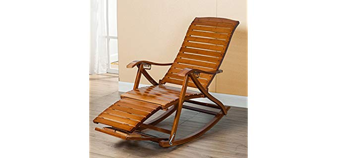 Lounge Chair  - Solid Bamboo Wood Reclining Lounger