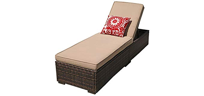 Patiorama Outdoor - Patio Chaise Lounge Sofa with Reclining Function