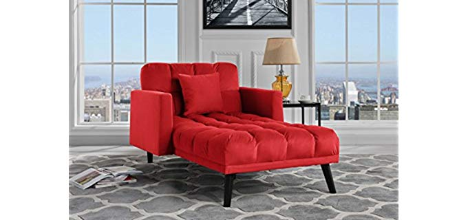 Sofamania Modern Velvet - Chaise Lounge Recliner and Futon