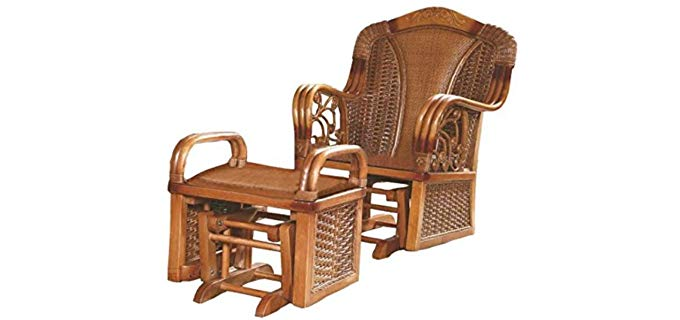 Sungao Natural - Bamboo Rattan Style Recliner and Ottoman