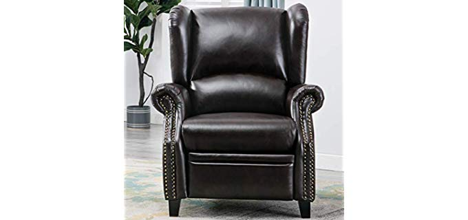 Good & Gracious Traditional Wingback - Wooden Leg Recliner