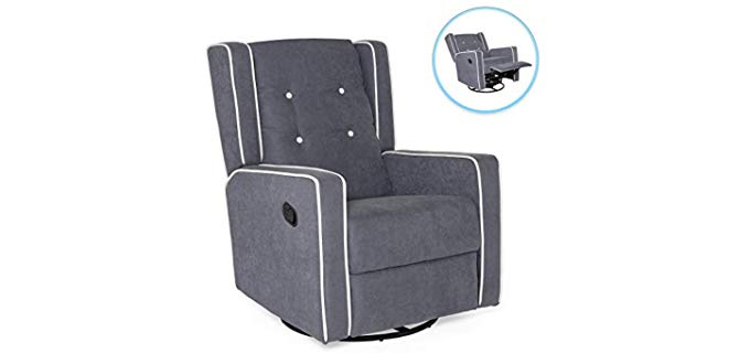 Best Choice Products Tufted - Rocking and Swivel Recliner